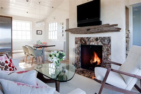 driftwood mantle steals rustic appeal