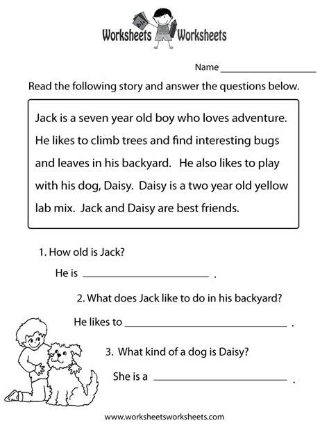 reading comprehension practice worksheet printable reading comprehension test