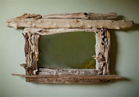 distinct driftwood pieces framed mirror including vintage windowsill