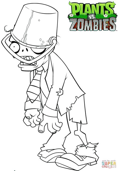 plants zombies buckethead zombie coloring page free printable
