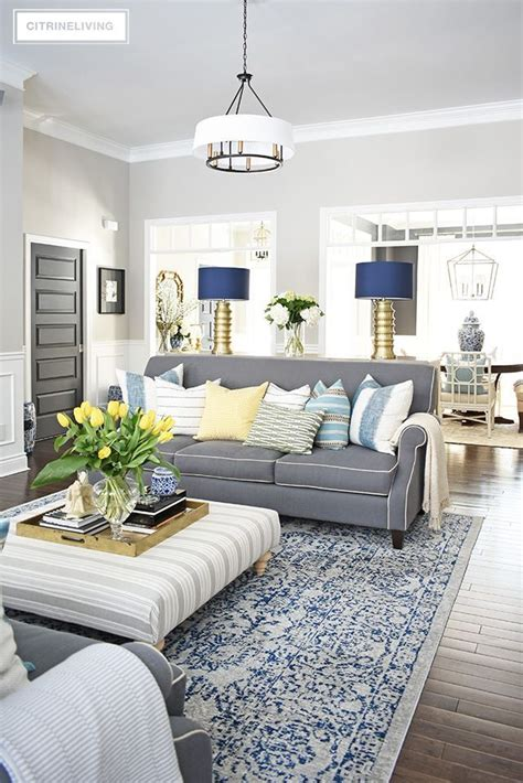 spring home tour vibrant yellows pretty blues living