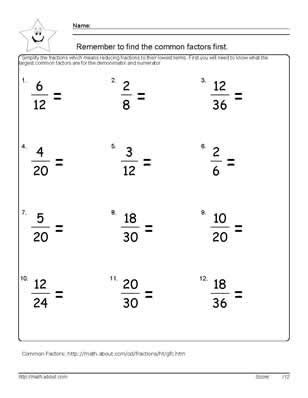 9 worksheets simplifying fractions 6th graders