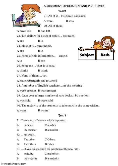 subject verb agreement subject verb agreement worksheet