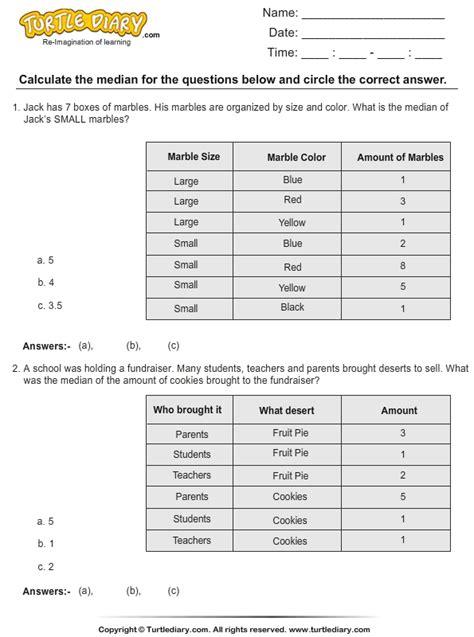 median odd number data points worksheet turtle diary