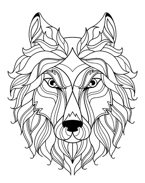 big wolf head simple wolves adult coloring pages