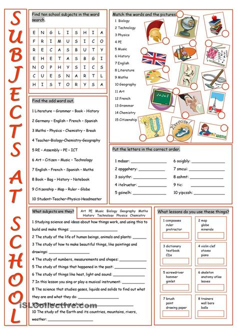 school subjects vocabulary exercises english pinterest vocabulary exercises