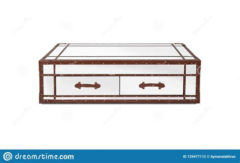 mirrored coffee table brown leather edges isolated white