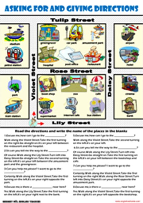 giving directions esl printable worksheets exercises