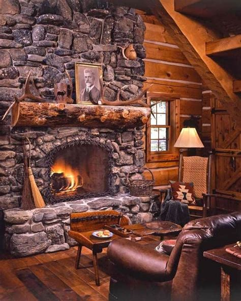 38 rustic country cabins stone fireplace