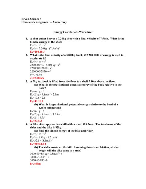 kinetic potential energy calculations worksheet answers energy etfs