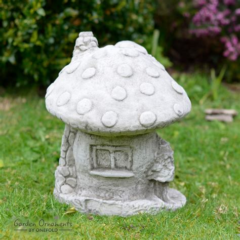 fairy mushroom house garden ornament cast stone home