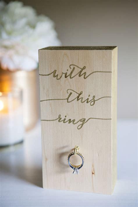 wooden block wedding ring holder