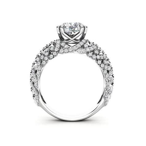 unique engagement ring 14k white gold ring cushion
