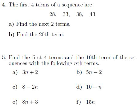 sequences worksheet solutions worksheet finding terms linear sequence