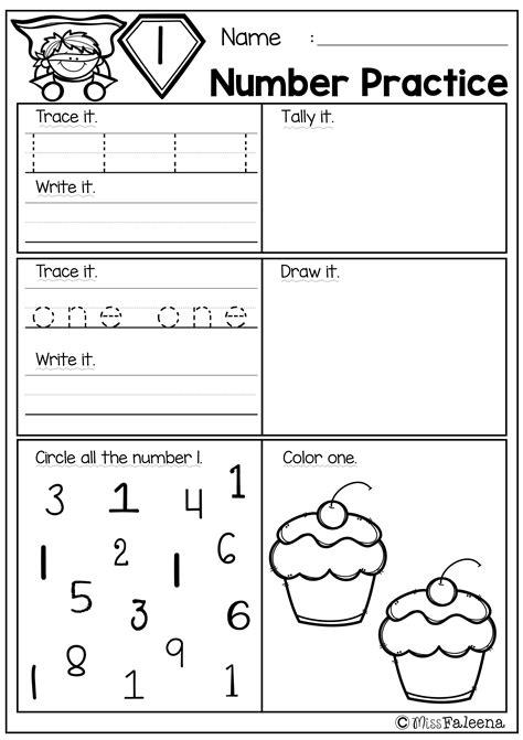 number 1 20 practice set 1 kindergarten math