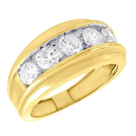 14k yellow gold wedding band mens 5 stone