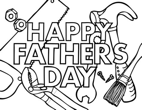 happy fathers day 2 coloring page crafting word