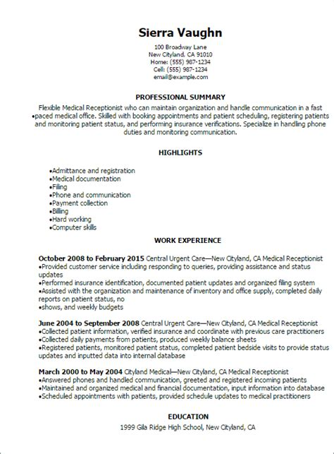 professional medical receptionist resume templates showcase talent myperfectresume