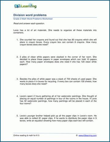 grade 3 division word problem worksheets k5 learning