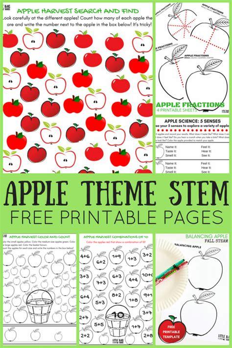 apple worksheets preschool bins hands