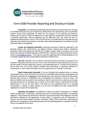 fillable online form 5500 provider reporting disclosure guide