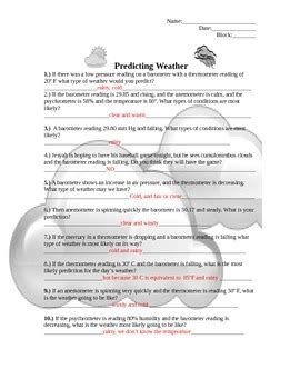 predicting weather worksheet christina cassell tpt