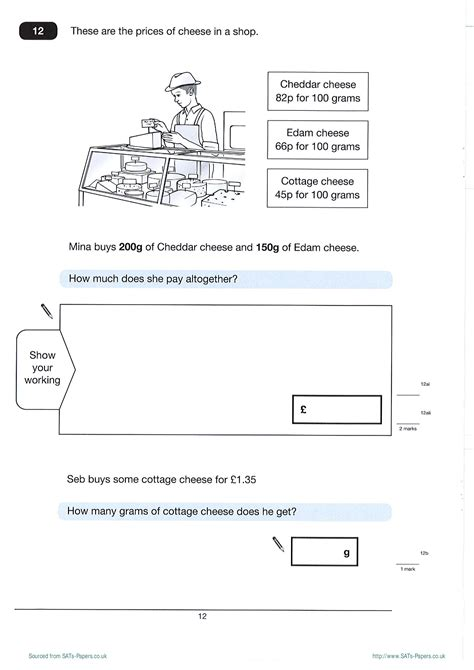 free worksheets ks2 maths test 2012 sats papers