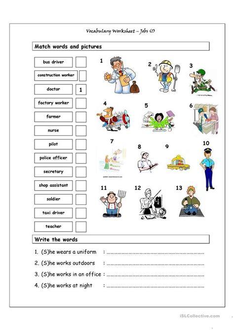 vocabulary matching worksheet jobs 1 englisch lernen arbeitsblätter