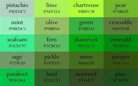 shades green color names paint color codes color