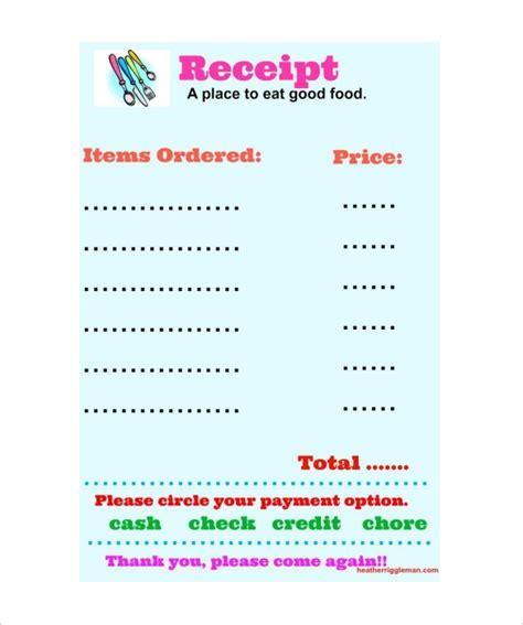 9 restaurant receipt templates free sles exles format