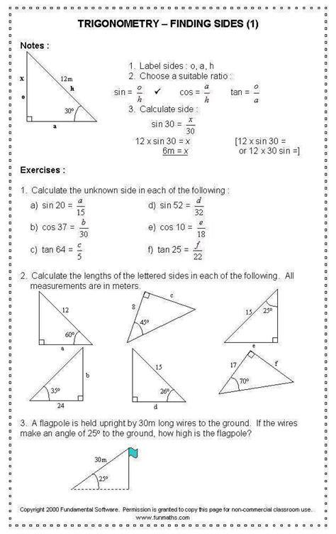 triangle trig worksheet homeschooldressage