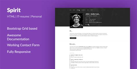 download spirit portfolio resume html template developers programmers