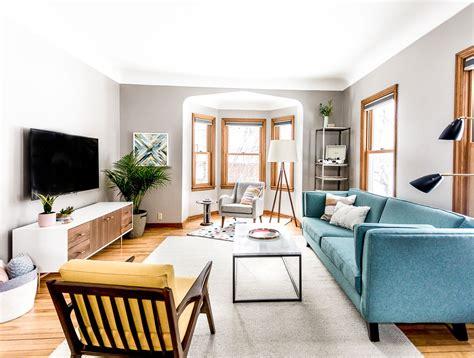 grey living room ideas mid century modern style