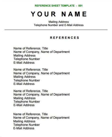reference sheet template resume references reference page resume