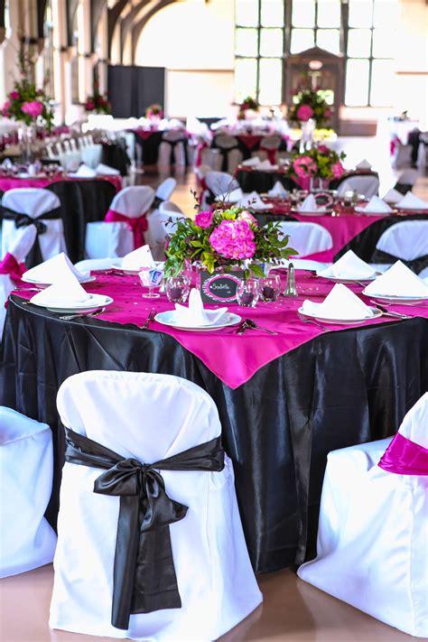 pink black wedding tablescapes fuschia wedding black wedding