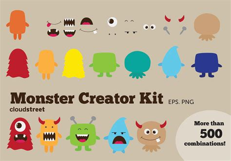 monster creator kit clipart illustrations creative market