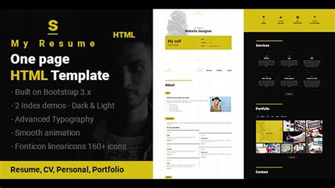 resume cv portfolio page html template themeforest website