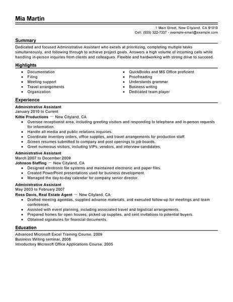 administrative assistant resume professional resume writing service