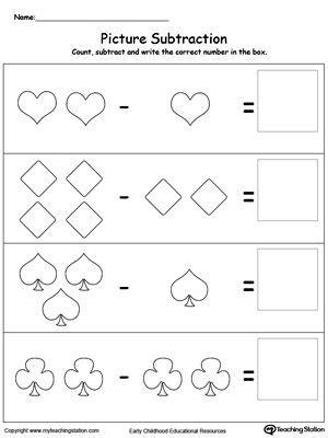 learn subtraction shapes subtraction worksheets subtraction kindergarten numbers