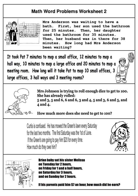 printables math word problems 2nd grade geotwitter kids