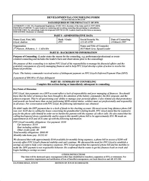 free 7 sle army counseling forms ms word