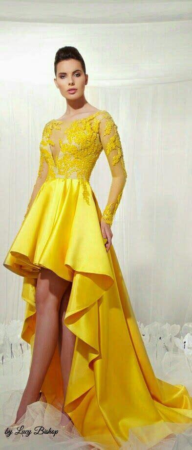yellow haute couture ball gowns high evening dress