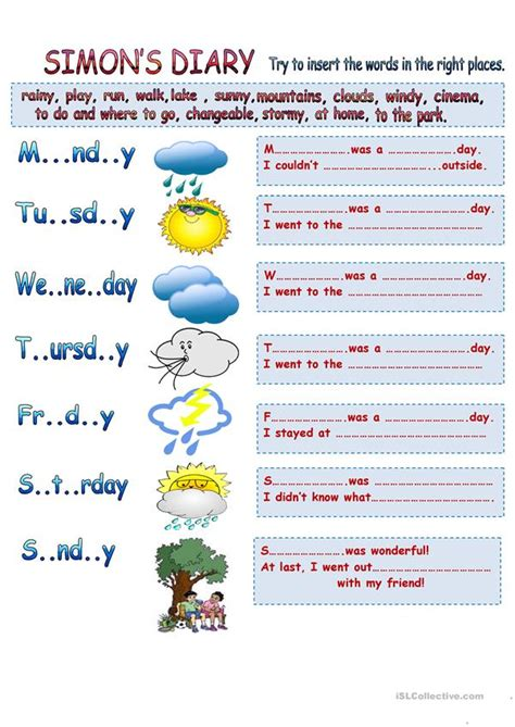 weather types learning simple vocabulary worksheet free esl