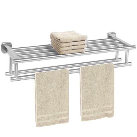 stainless steel double towel rack wall mount bathroom