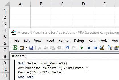 vba selection range select range excel vba code