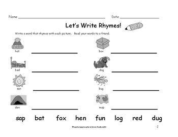 kindergarten grade rhyming words worksheets write rhyme 8