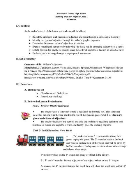 order adjectives demonstartion plan