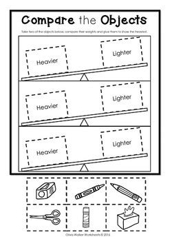 weight worksheets standard measurement kindergarten grade students
