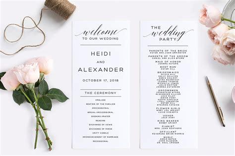 wedding program editable wedding templates creative market