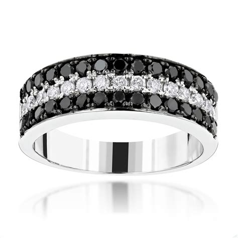 unique 3 row white black diamond wedding band